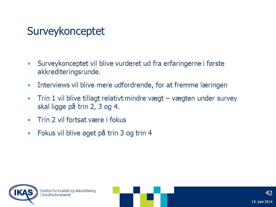 2. april 2017 Surveykonceptet. Surveykonceptet vil blive vurderet ud fra erfaringerne i første akkrediteringsrunde.