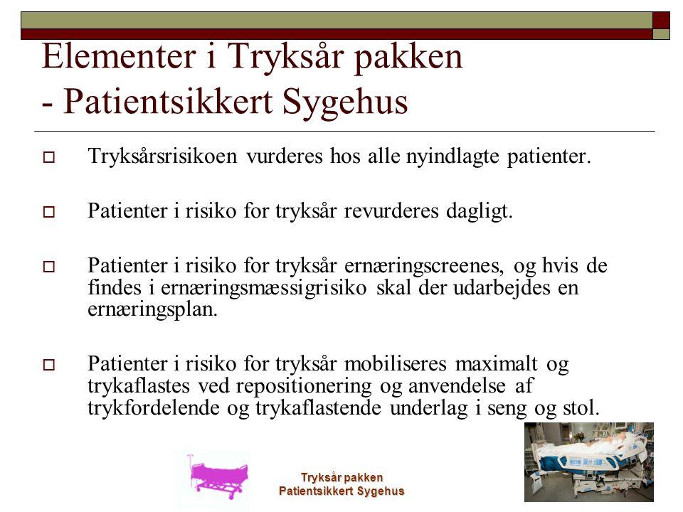Elementer i Tryksår pakken - Patientsikkert Sygehus