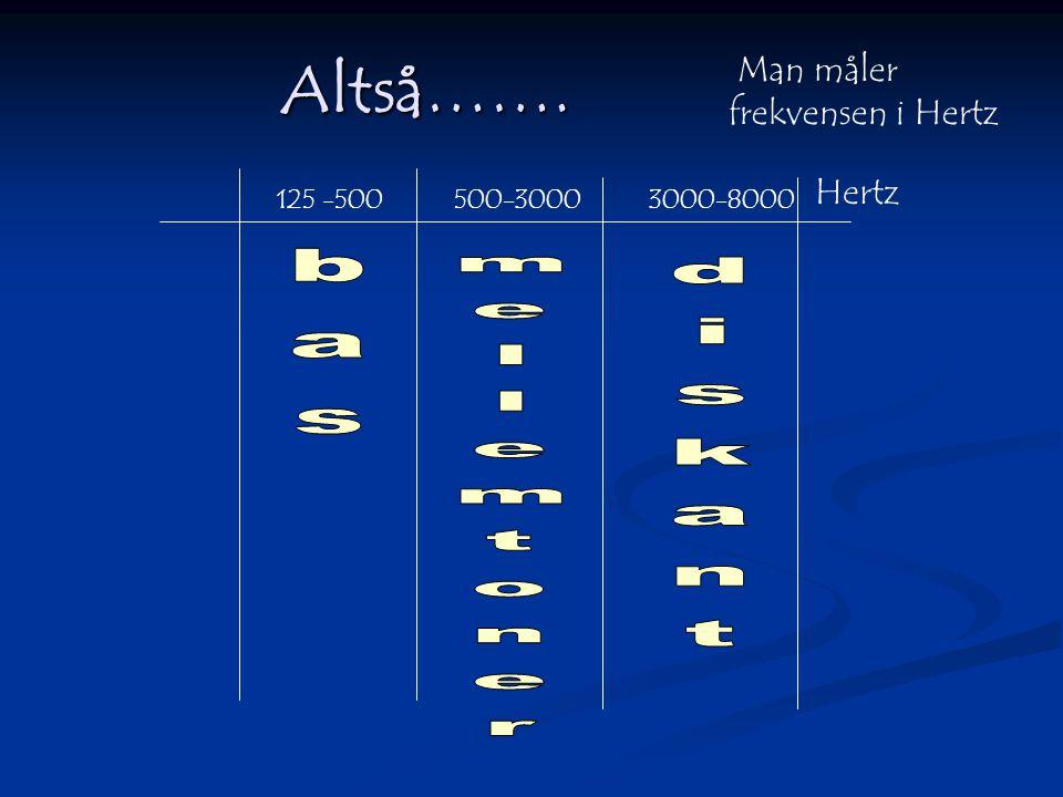 Altså……. Man måler frekvensen i Hertz Hertz bas diskant mellemtoner