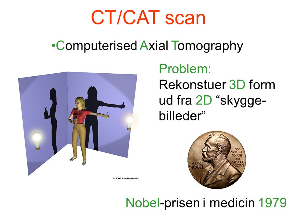 CT/CAT scan Computerised Axial Tomography Problem: Rekonstuer 3D form