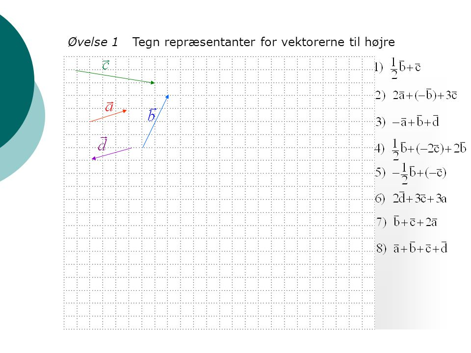 Øvelse 1 Tegn repræsentanter for vektorerne til højre