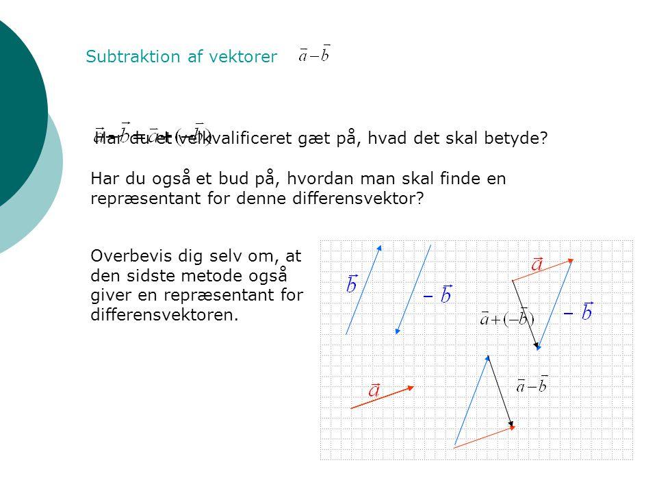 Subtraktion af vektorer