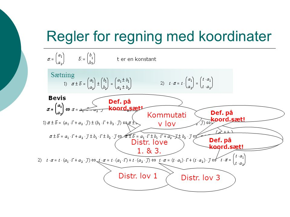 Regler for regning med koordinater
