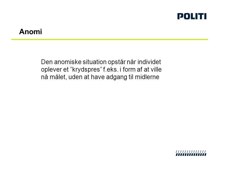 Anomi Den anomiske situation opstår når individet oplever et krydspres f.eks.
