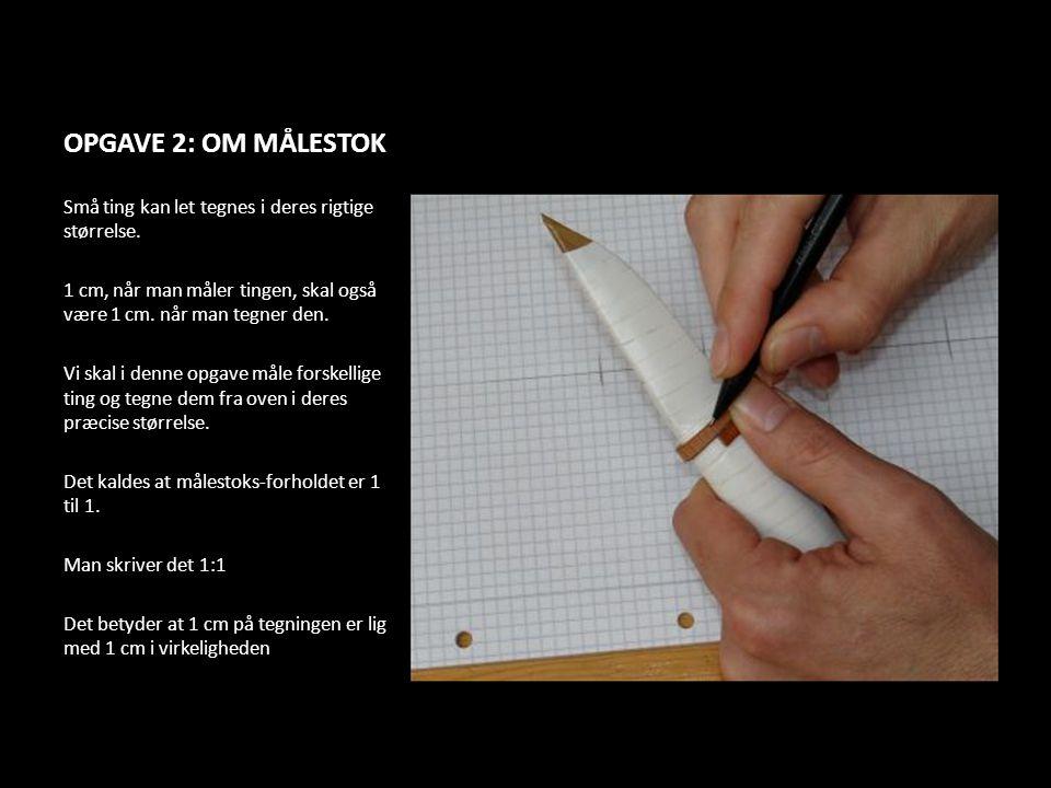 OPGAVE 2: OM MÅLESTOK Små ting kan let tegnes i deres rigtige størrelse. 1 cm, når man måler tingen, skal også være 1 cm. når man tegner den.