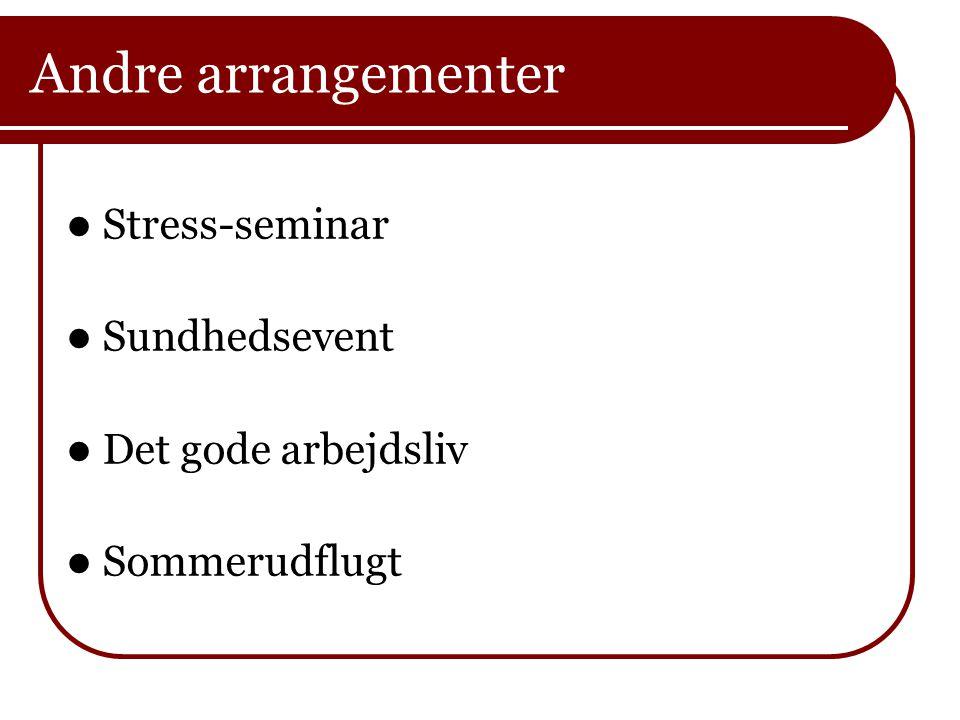 Andre arrangementer Stress-seminar Sundhedsevent Det gode arbejdsliv
