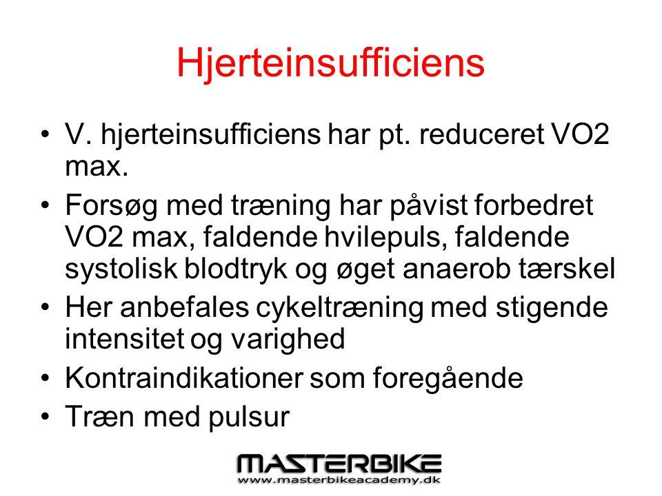Hjerteinsufficiens V. hjerteinsufficiens har pt. reduceret VO2 max.