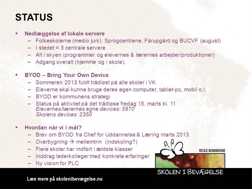 Status Nedlæggelse af lokale servere