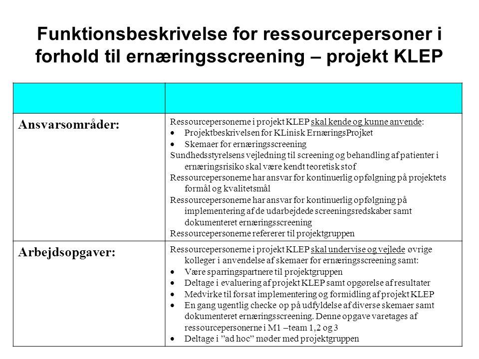 Funktionsbeskrivelse for ressourcepersoner i forhold til ernæringsscreening – projekt KLEP