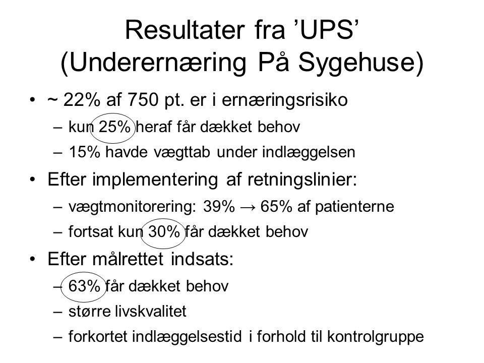 Resultater fra 'UPS' (Underernæring På Sygehuse)