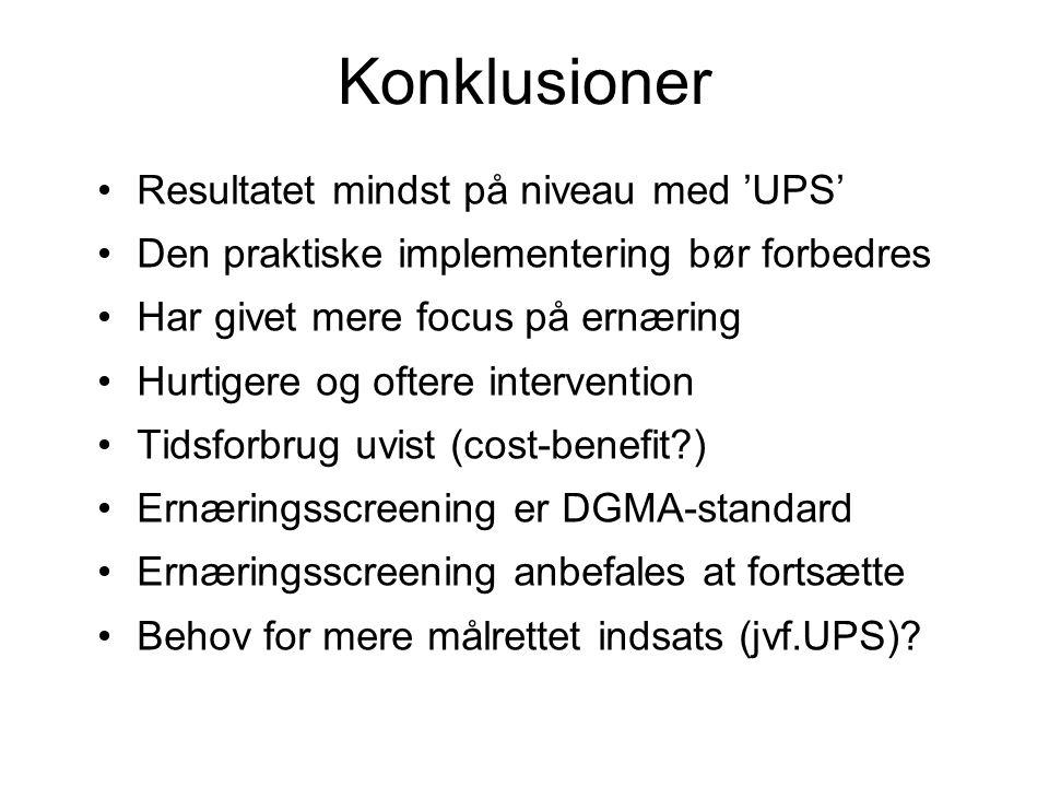 Konklusioner Resultatet mindst på niveau med 'UPS'