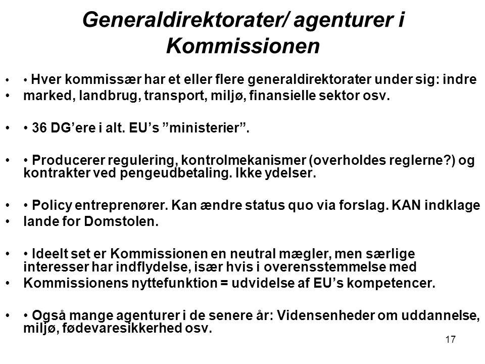 Generaldirektorater/ agenturer i Kommissionen