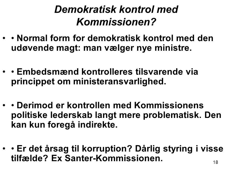 Demokratisk kontrol med Kommissionen