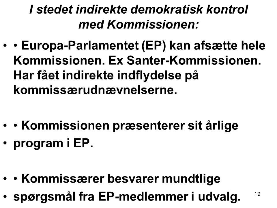 I stedet indirekte demokratisk kontrol med Kommissionen: