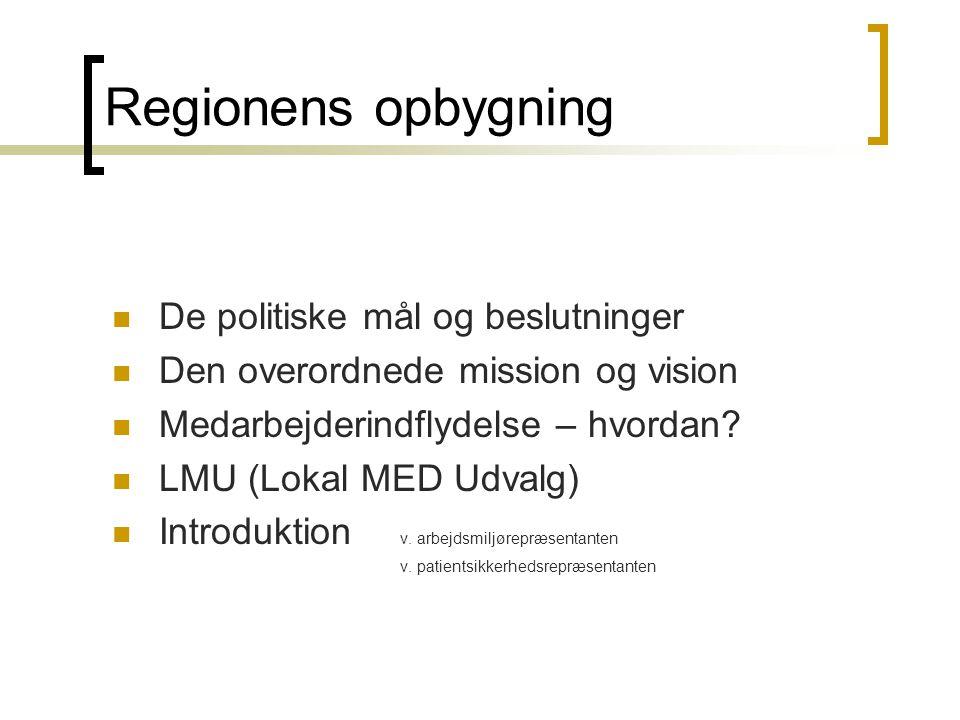 Regionens opbygning De politiske mål og beslutninger