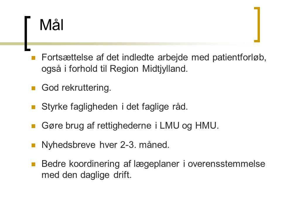 Mål Fortsættelse af det indledte arbejde med patientforløb, også i forhold til Region Midtjylland. God rekruttering.