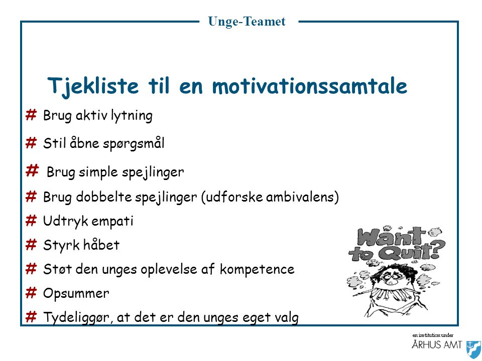 Tjekliste til en motivationssamtale