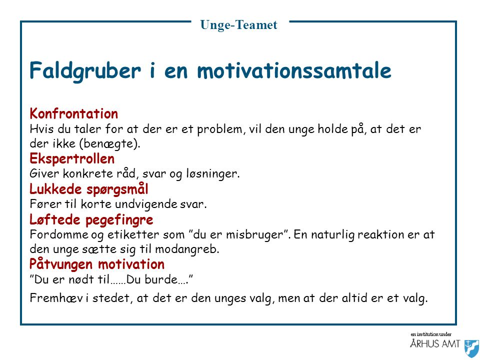 Faldgruber i en motivationssamtale