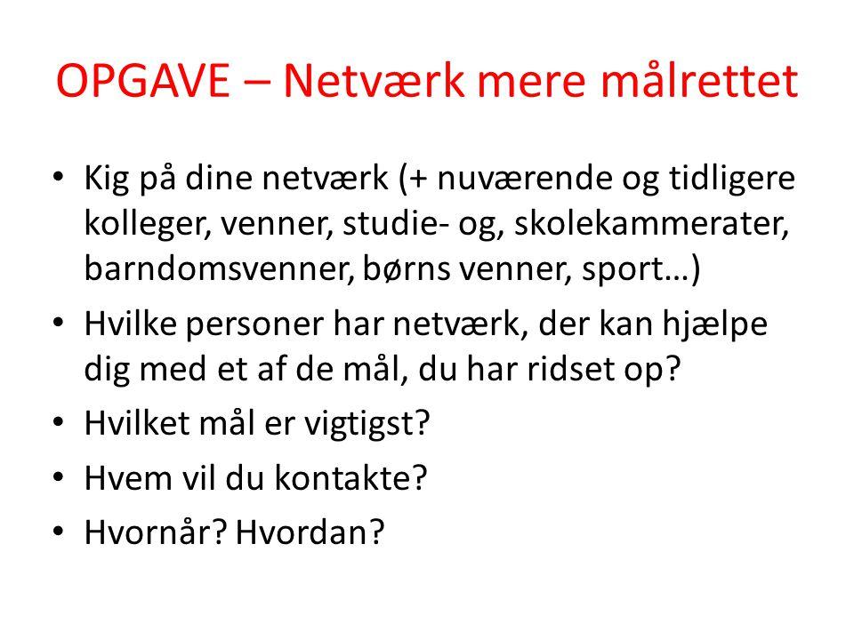 OPGAVE – Netværk mere målrettet
