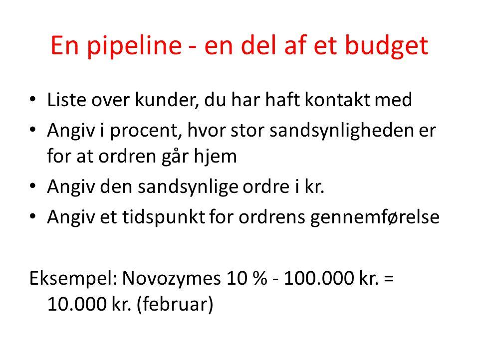 En pipeline - en del af et budget
