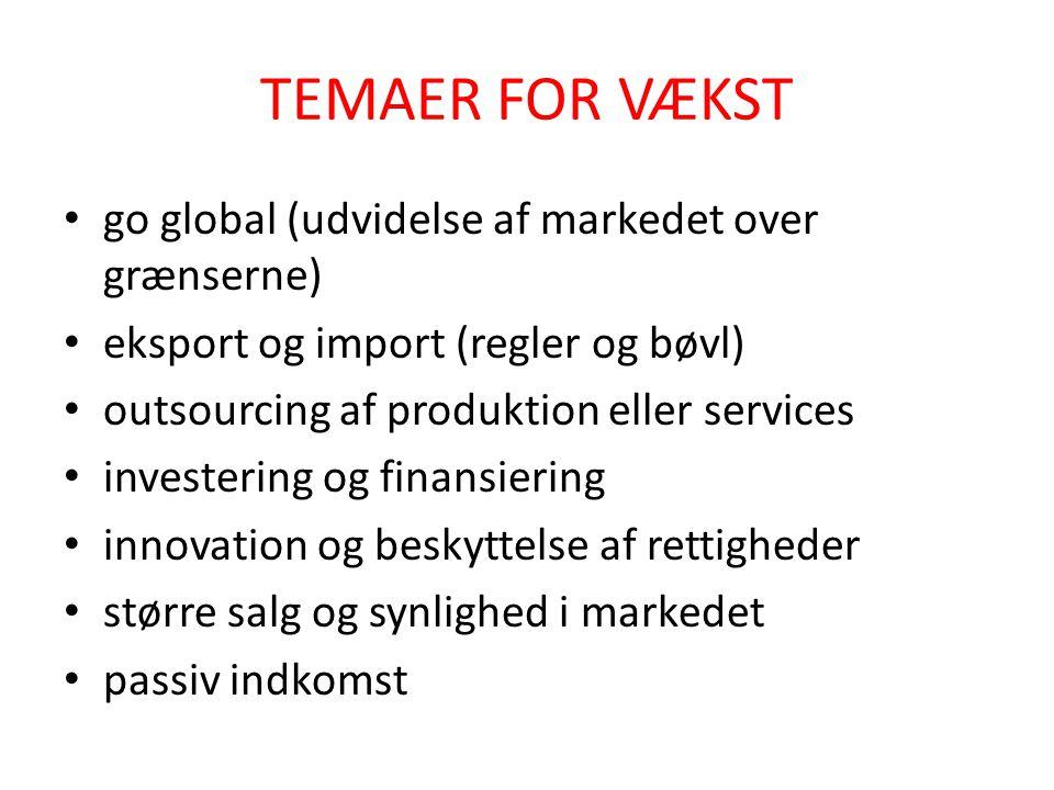 TEMAER FOR VÆKST go global (udvidelse af markedet over grænserne)