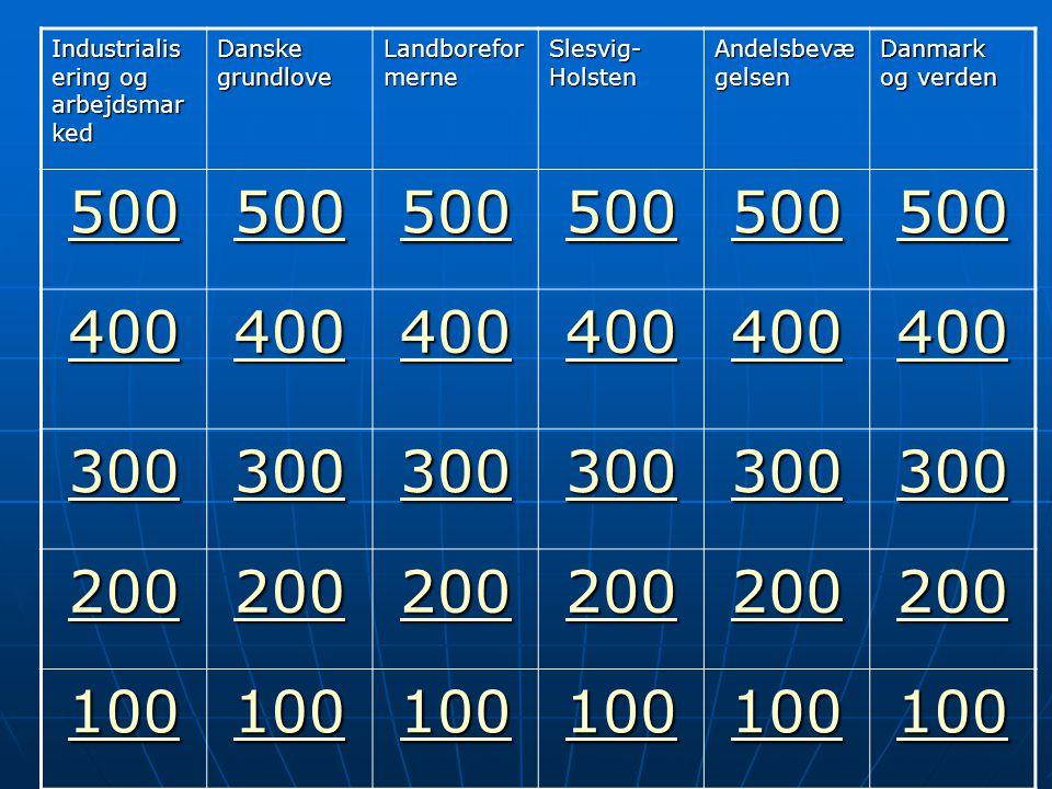 500 400 300 200 100 Industrialisering og arbejdsmarked