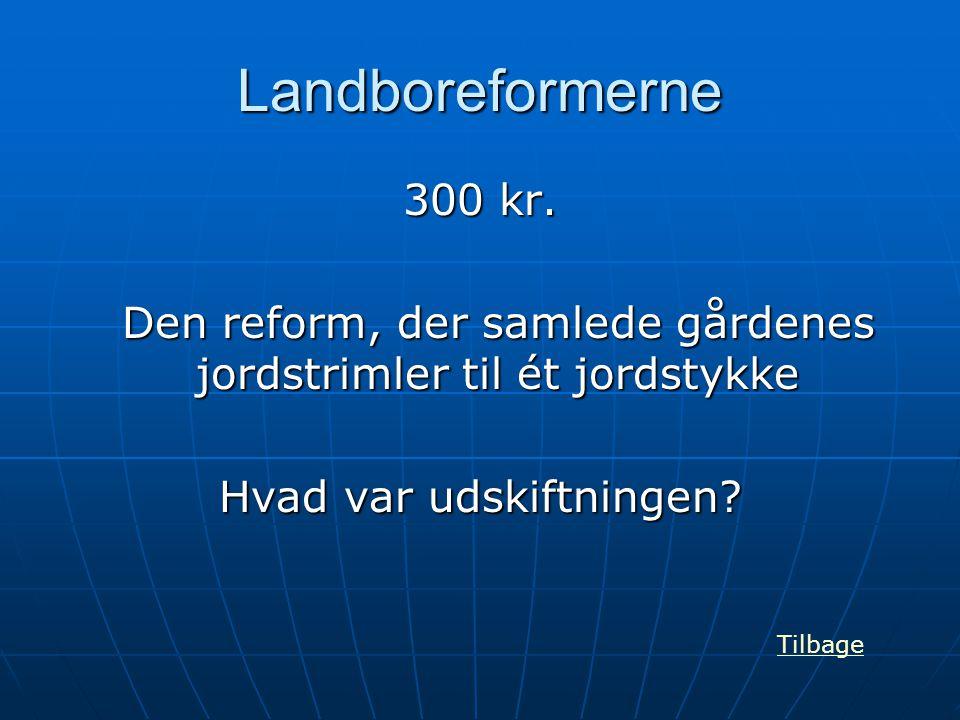 Landboreformerne 300 kr. Den reform, der samlede gårdenes jordstrimler til ét jordstykke. Hvad var udskiftningen