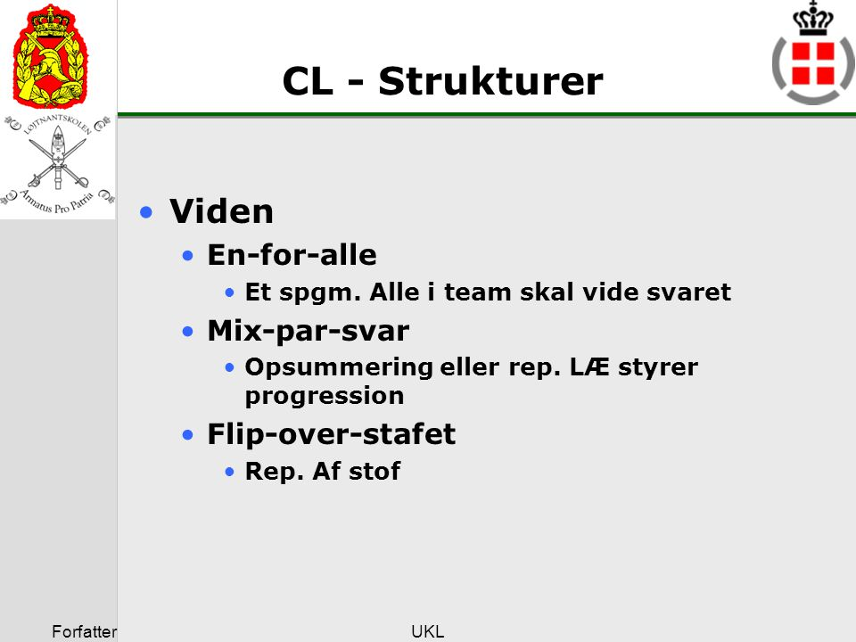 CL - Strukturer Viden En-for-alle Mix-par-svar Flip-over-stafet