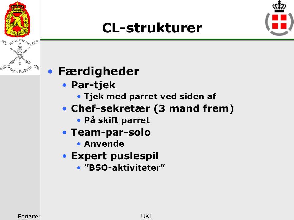 CL-strukturer Færdigheder Par-tjek Chef-sekretær (3 mand frem)