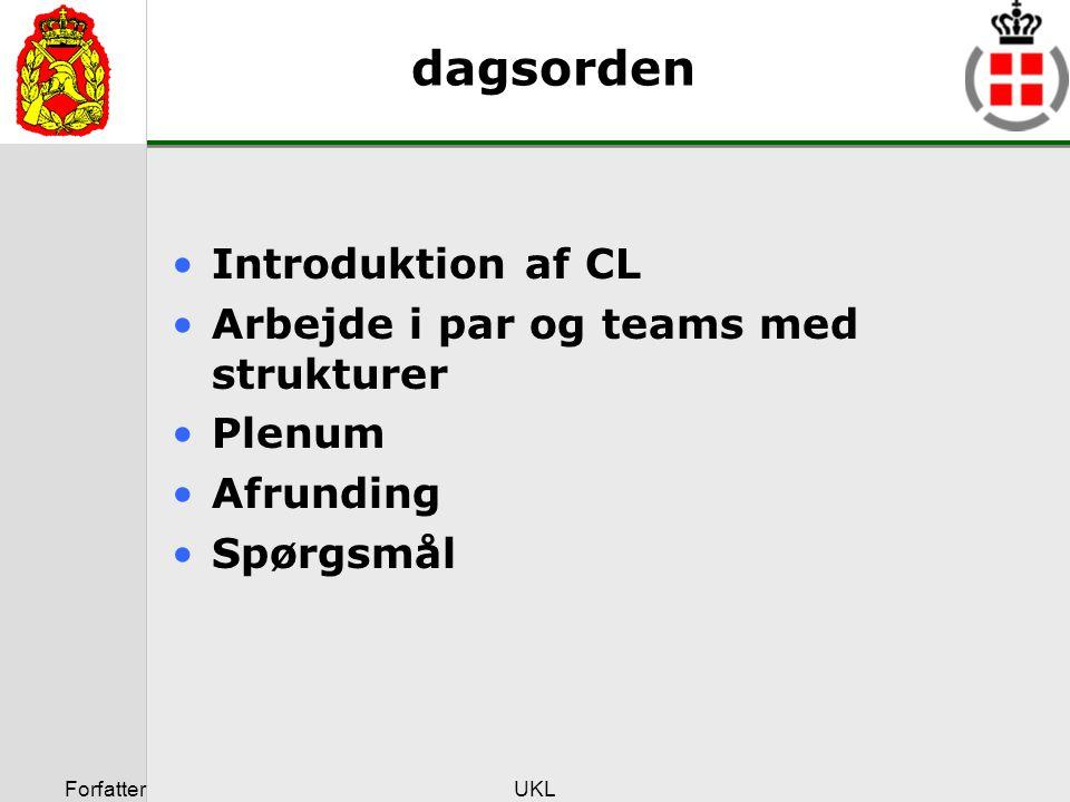dagsorden Introduktion af CL Arbejde i par og teams med strukturer