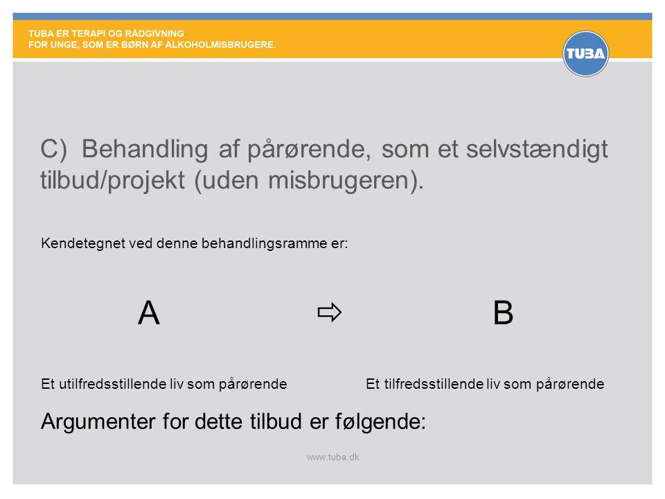 C) Behandling af pårørende, som et selvstændigt tilbud/projekt (uden misbrugeren).