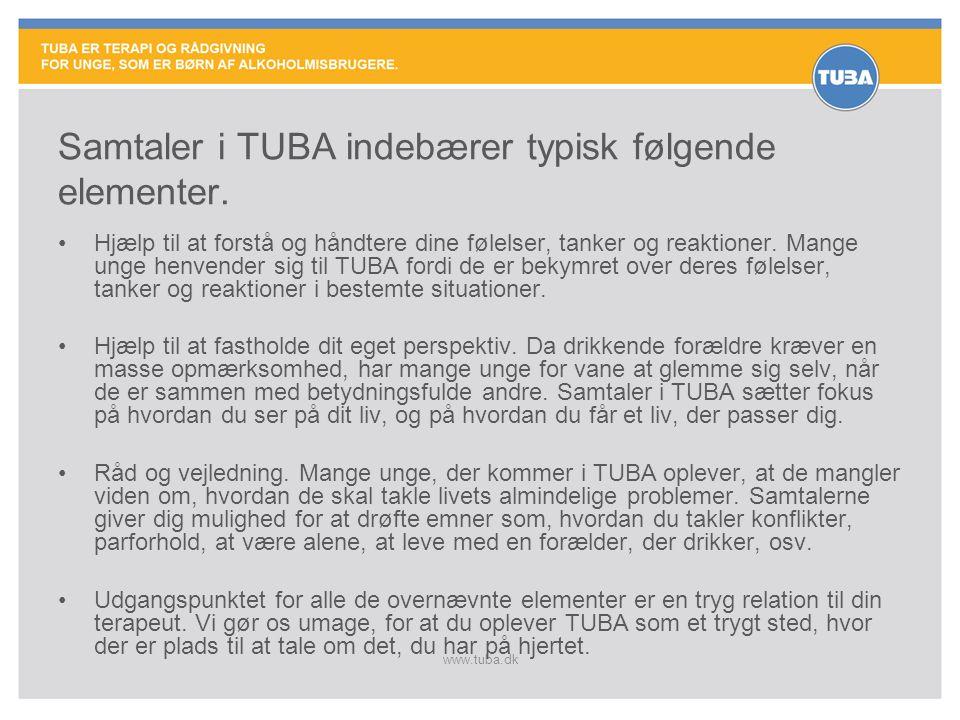 Samtaler i TUBA indebærer typisk følgende elementer.