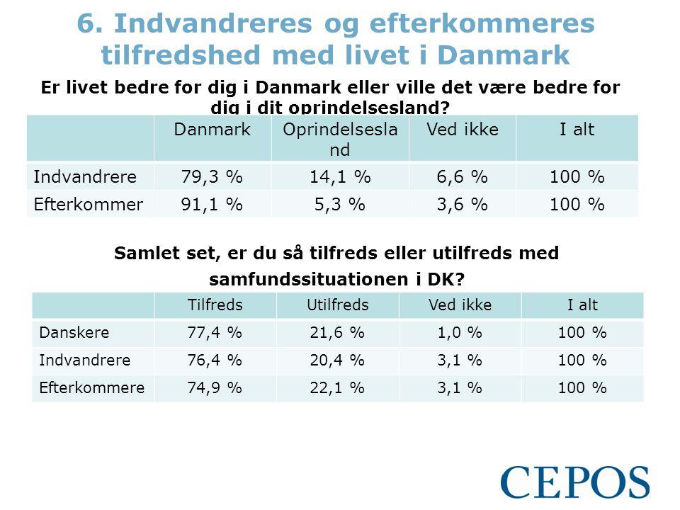 6. Indvandreres og efterkommeres tilfredshed med livet i Danmark