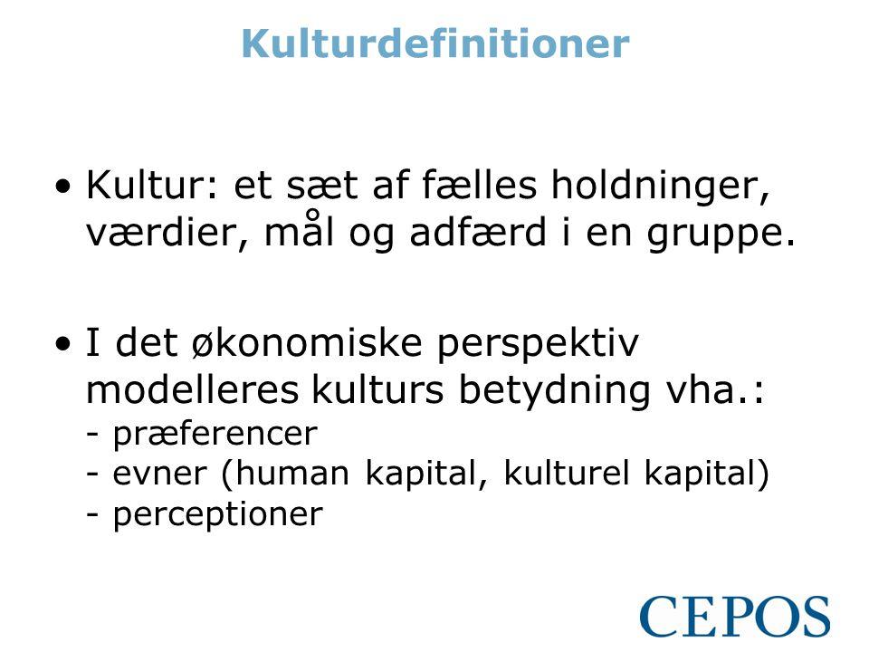 Kulturdefinitioner Kultur: et sæt af fælles holdninger, værdier, mål og adfærd i en gruppe.