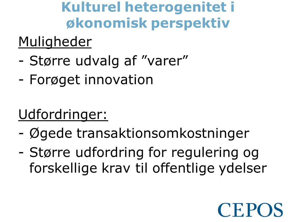 Kulturel heterogenitet i økonomisk perspektiv