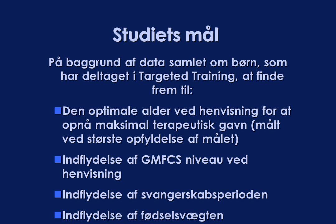 Studiets mål På baggrund af data samlet om børn, som har deltaget i Targeted Training, at finde frem til: