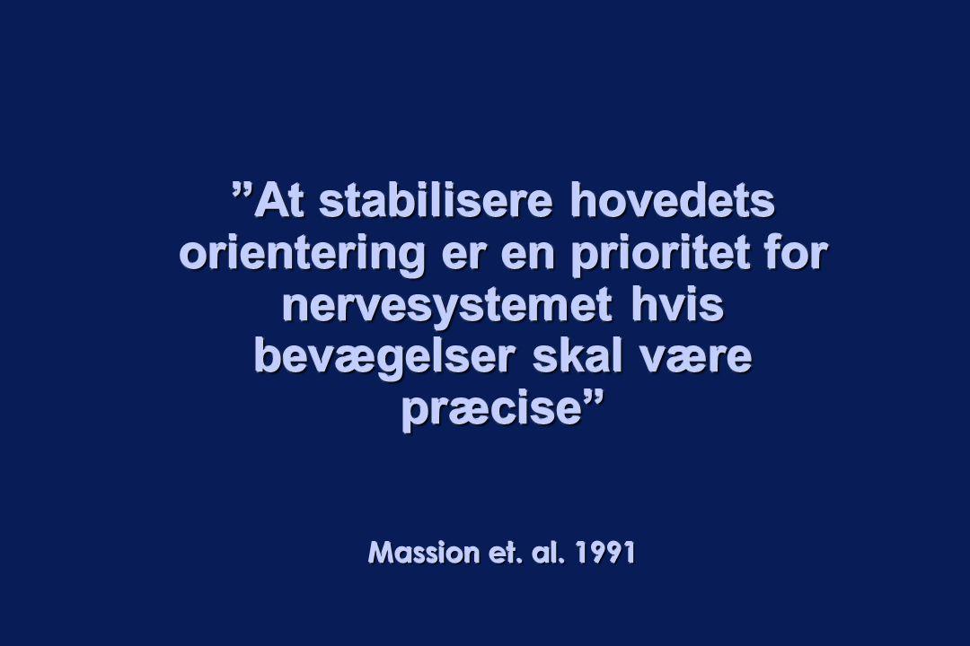 At stabilisere hovedets orientering er en prioritet for nervesystemet hvis bevægelser skal være præcise Massion et.