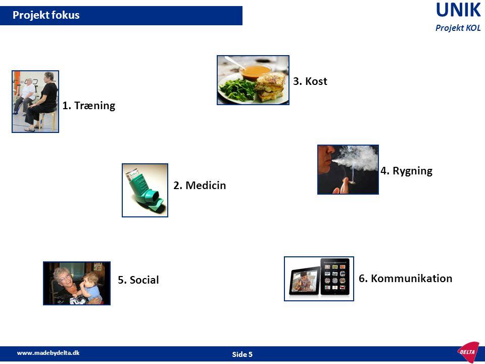 UNIK Projekt fokus 3. Kost 1. Træning 4. Rygning 2. Medicin 5. Social