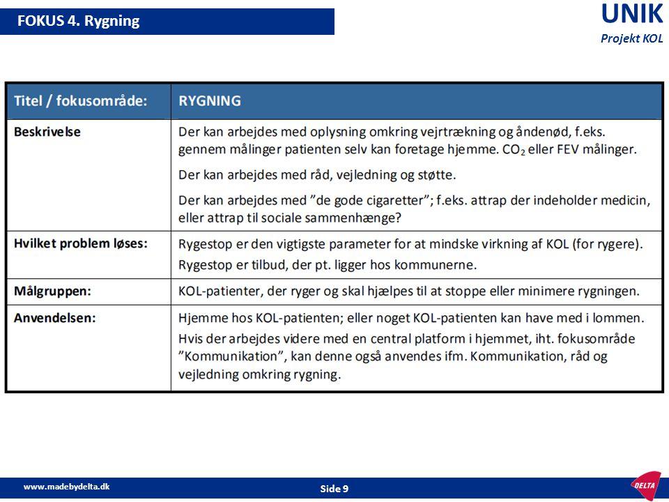UNIK Projekt KOL FOKUS 4. Rygning www.madebydelta.dk Side 9