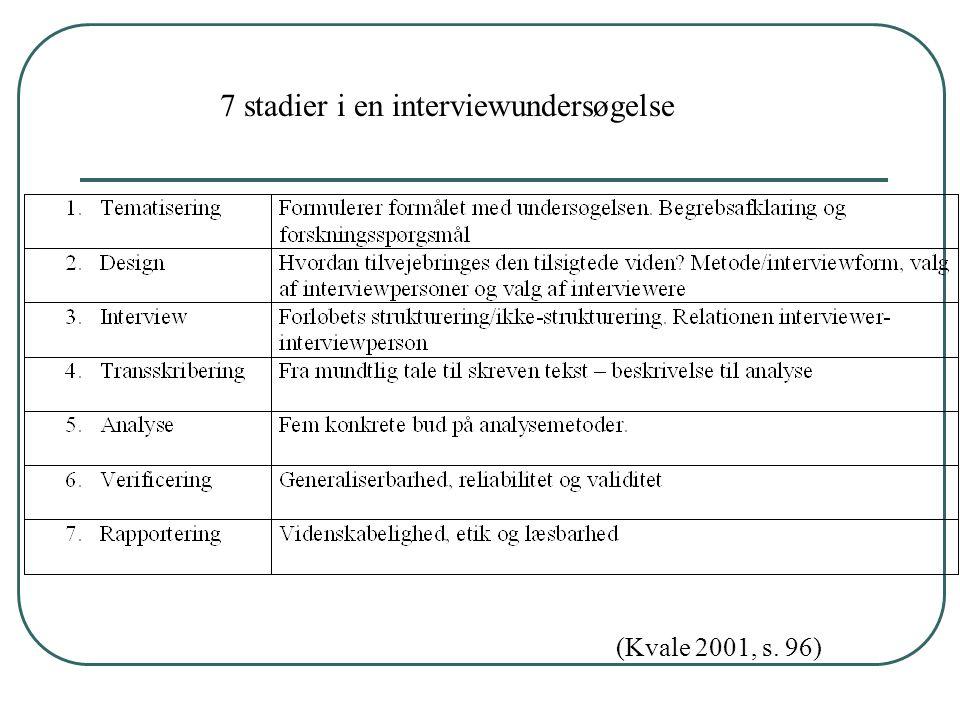 7 stadier i en interviewundersøgelse