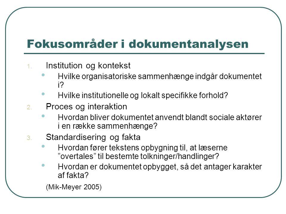 Fokusområder i dokumentanalysen