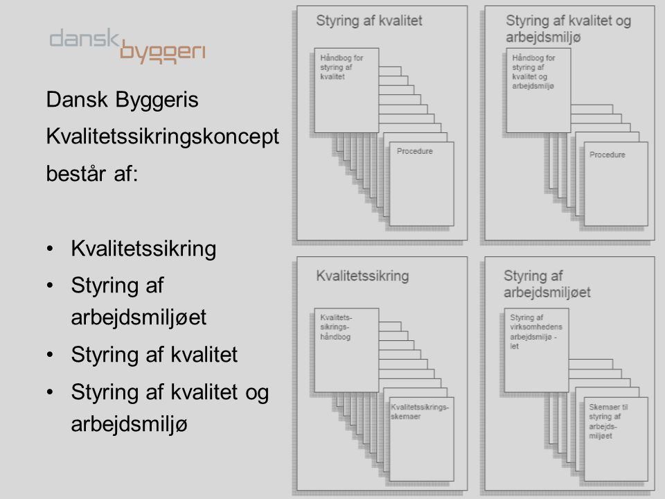 Dansk Byggeris Kvalitetssikringskoncept. består af: Kvalitetssikring. Styring af arbejdsmiljøet.