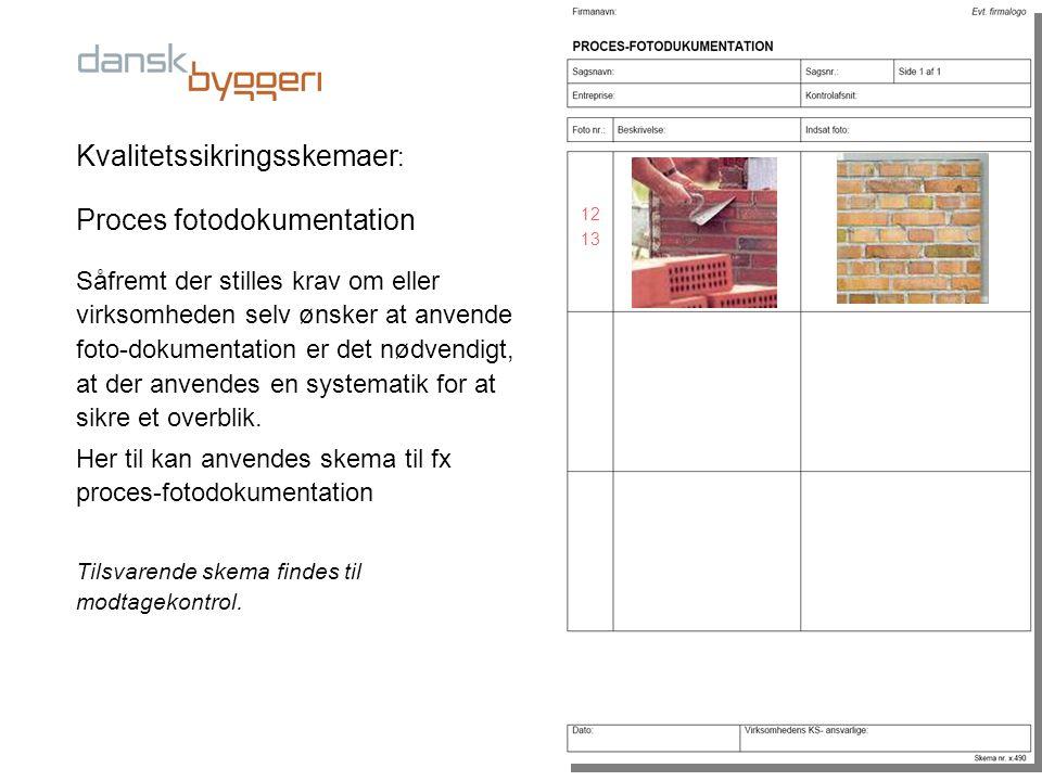 Kvalitetssikringsskemaer: Proces fotodokumentation