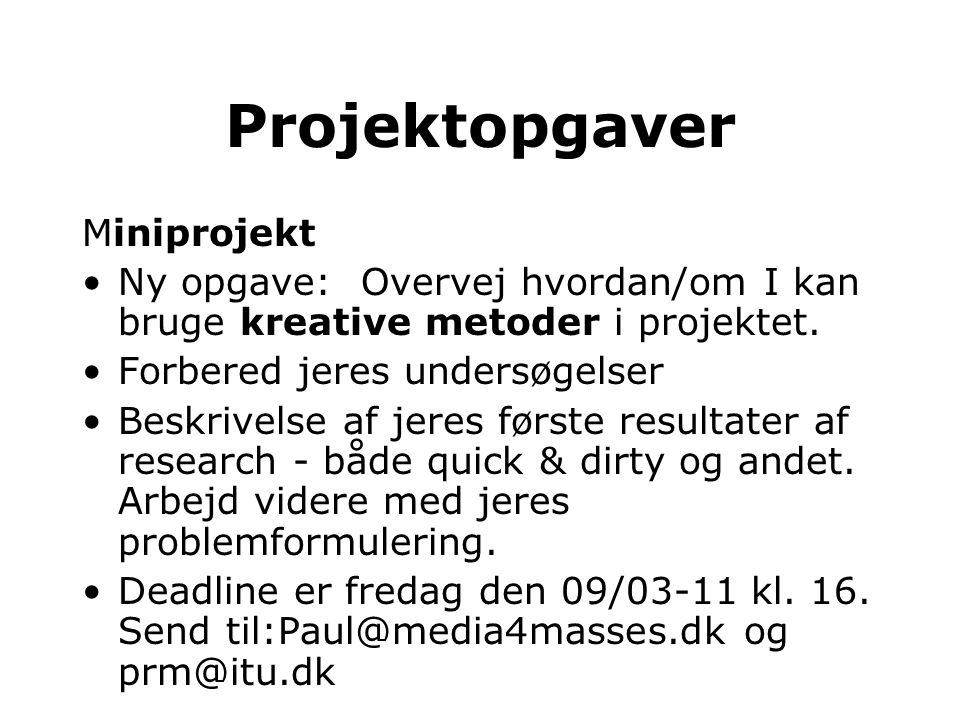 Projektopgaver Miniprojekt