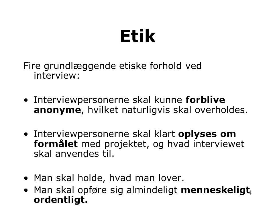 Etik Fire grundlæggende etiske forhold ved interview: