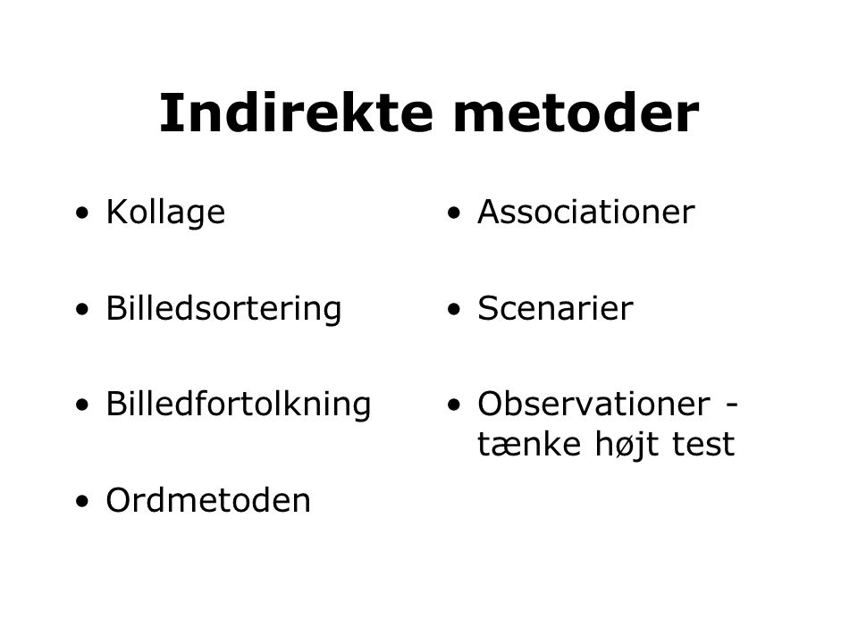 Indirekte metoder Kollage Billedsortering Billedfortolkning Ordmetoden