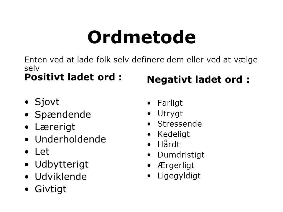 Ordmetode Positivt ladet ord : Negativt ladet ord : Sjovt Spændende