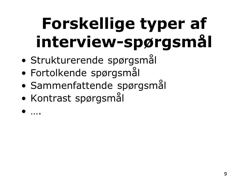 Forskellige typer af interview-spørgsmål