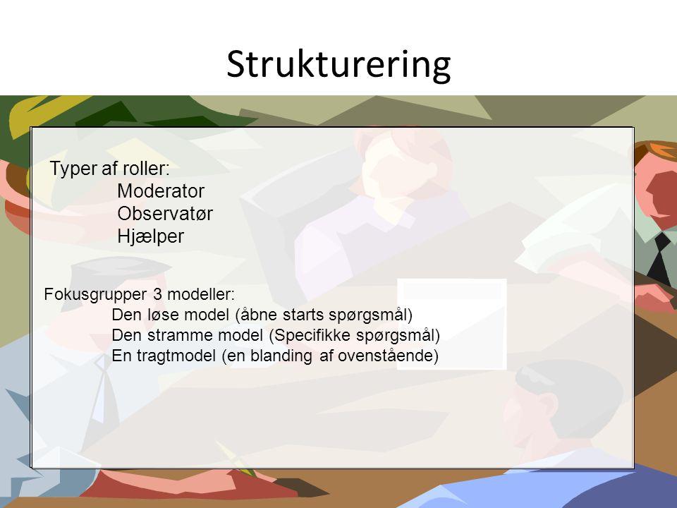 Strukturering Typer af roller: Moderator Observatør Hjælper