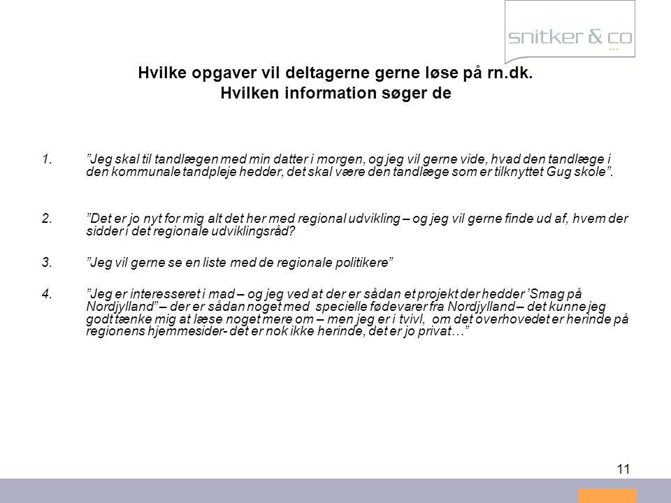 Hvilke opgaver vil deltagerne gerne løse på rn. dk
